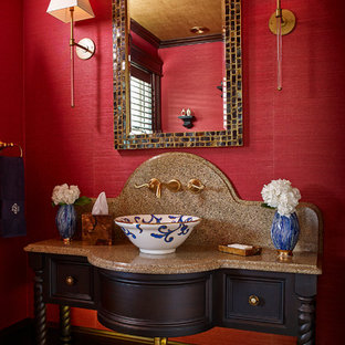 Bathroom - traditional mosaic tile floor bathroom idea in Wilmington with a vessel sink, furniture-like cabinets, dark wood cabinets and red walls