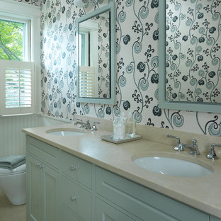 Example of a classic bathroom design in Boston with an undermount sink, recessed-panel cabinets, blue cabinets, multicolored walls and quartzite countertops