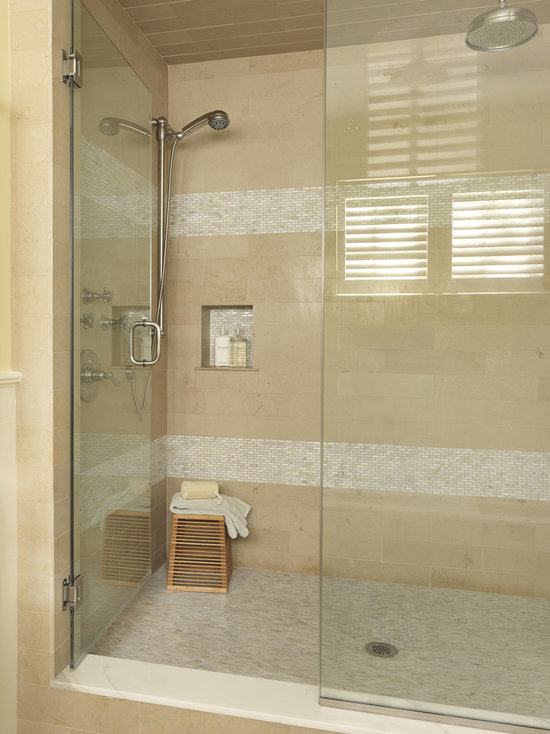 Shower Subway Tile subway tile shower with accent | houzz