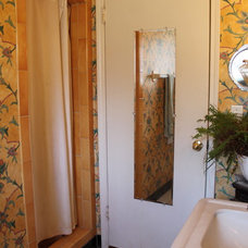 Eclectic Bathroom Bathroom redo with wallpaper