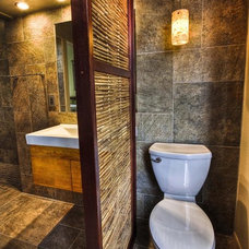 tropical bathroom by 2D3D Design, INC
