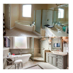 Inspiration for a large contemporary master bathroom in Houston with flat-panel cabinets, brown cabinets, a claw-foot tub, an alcove shower, a two-piece toilet, brown tile, ceramic tile, brown walls, bamboo floors, an integrated sink, engineered quartz benchtops, beige floor, a hinged shower door, brown benchtops, an enclosed toilet, a single vanity, a freestanding vanity and vaulted.