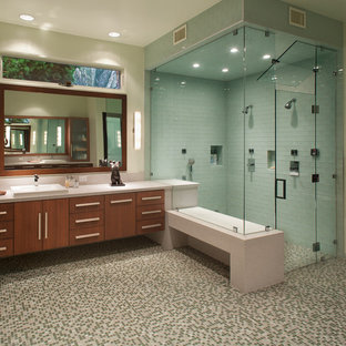 Design ideas for a large contemporary bathroom in San Diego with mosaic tile, flat-panel cabinets, medium wood cabinets, multi-coloured tile, beige walls, mosaic tile floors, a drop-in sink and with a sauna.