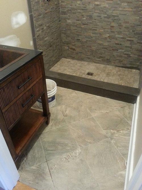 doorless shower small craftsman kids gray tile and stone tile porcelain floor doorless shower