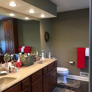 Imagen de cuarto de baño principal, clásico renovado, con armarios con paneles con relieve, puertas de armario de madera oscura, sanitario de dos piezas, suelo laminado, lavabo integrado, encimera de ónix y suelo gris