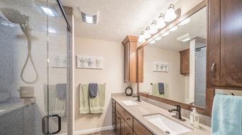 Bathroom Remodel: Onyx Shower, Custom Vanity, Tile Floor