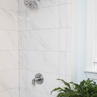Mid-sized minimalist master white tile and ceramic tile ceramic tile and white floor bathroom photo in Providence with beaded inset cabinets, blue cabinets, a one-piece toilet, blue walls, an undermount sink and tile countertops