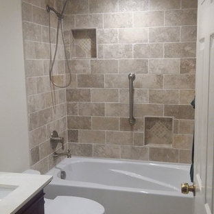 Small mediterranean shower room bathroom in San Francisco with medium wood cabinets, white walls, quartz worktops, recessed-panel cabinets, an alcove bath, a shower/bath combination, a two-piece toilet, beige tiles, ceramic tiles, ceramic flooring, a submerged sink, beige floors and a sliding door.
