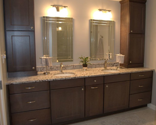 Bathroom Remodel With Cherry Slate Cabinets And Carrera