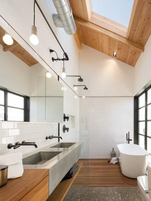 bad mit integriertem waschbecken im industrial style ideen bilder houzz. Black Bedroom Furniture Sets. Home Design Ideas