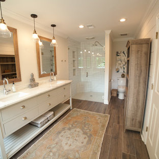 75 Beautiful Subway Tile Dark Wood Floor Bathroom Pictures & Ideas - January, 2021 | Houzz