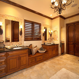 Example of a huge trendy master beige tile and porcelain tile porcelain floor alcove shower design in Other with an undermount sink and beige walls