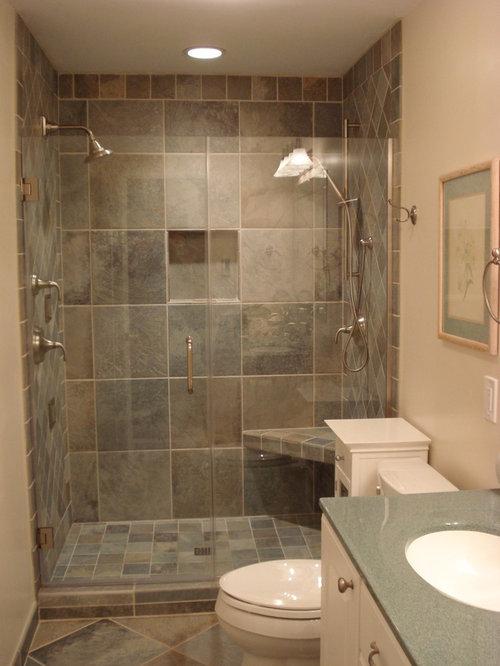 Salle de bain avec un plan de toilette en stratifi et un - Placard miroir salle de bain ...