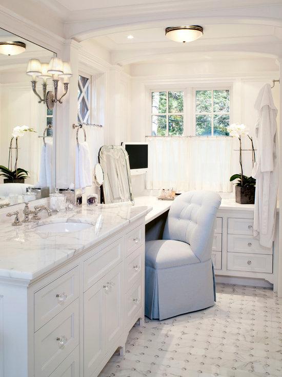 dual vanity with makeup counter | houzz