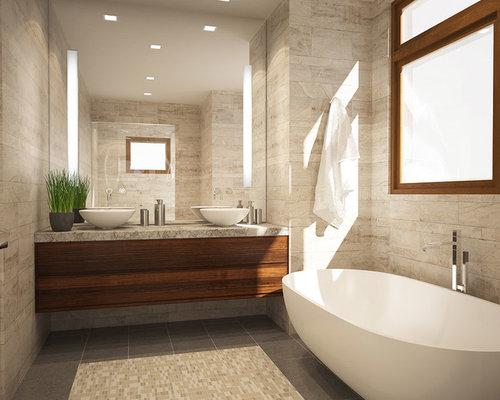 Petite salle de bain avec un plan de toilette en calcaire for Petite salle de bain avec toilette