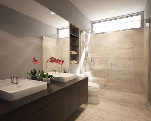 Bagno Marrone Moderno : Stanza da bagno con piastrelle in pietra e pareti marroni foto