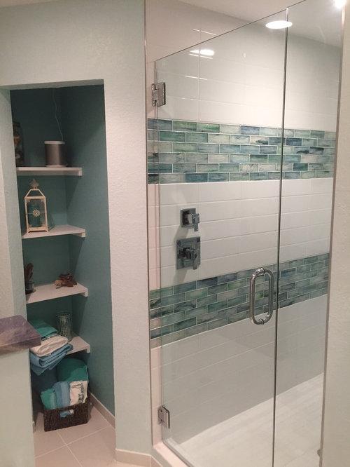 Tropical Bathroom Tile Ideas : Tropical bathroom with glass tile design ideas