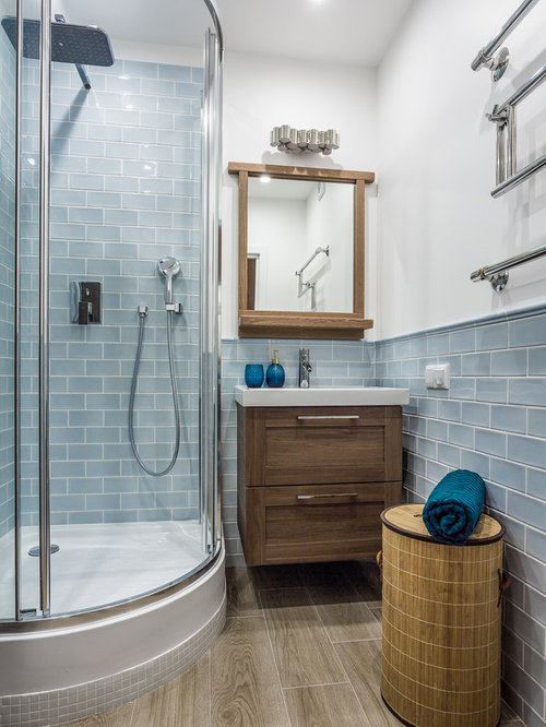 This Is An Example Of A Small Coastal Shower Room In Malaga With A Corner  Shower