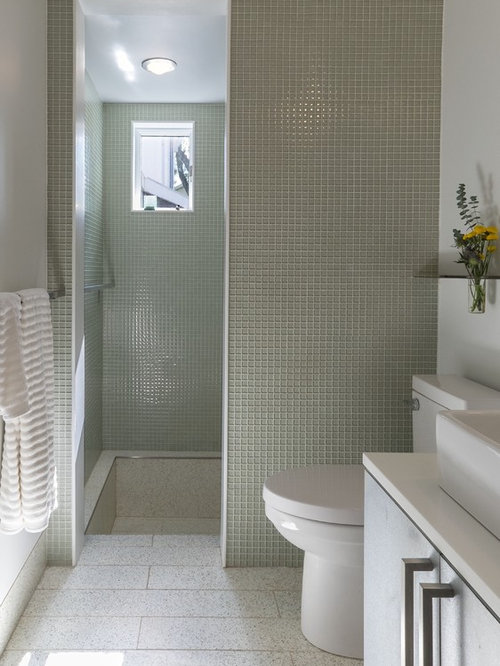 Inspiration For A Small Modern Master Bathroom In Baltimore With Vessel Sink Flat