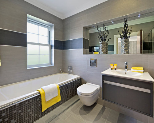 example of a trendy bathroom design in perth with an integrated sink flat panel - En Suite Bathrooms Designs