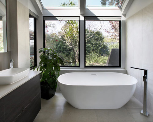 Inspiration For A Mid Sized Contemporary Bathroom In Perth With Flat Panel  Cabinets,