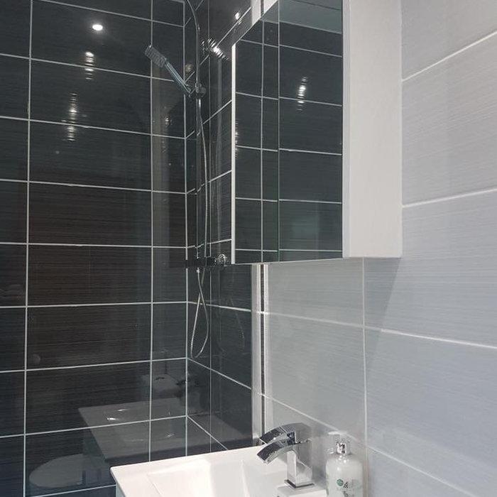 Modern Dark Tile Bathroom