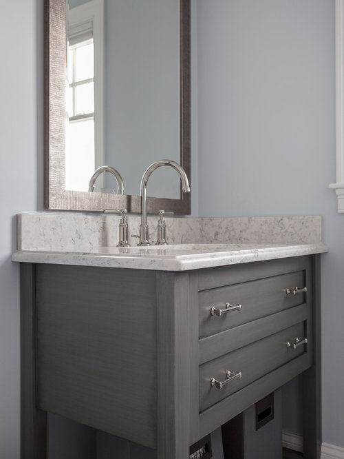 Small 4 Piece Bathroom Design Ideas Remodels Photos With Gray Cabinets