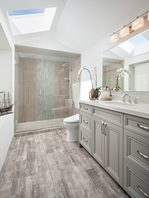 Genial Alcove Shower   Mid Sized Transitional Master Gray Tile And Porcelain Tile  Porcelain Floor And