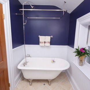Inspiration for a timeless claw-foot bathtub remodel in Cleveland