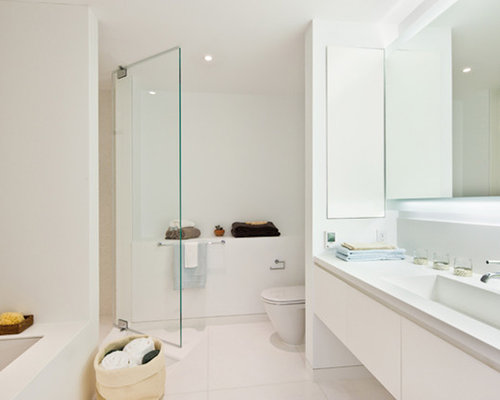 Minimalist Bathroom Photo In New York With An Integrated Sink, Flat Panel  Cabinets, Part 38