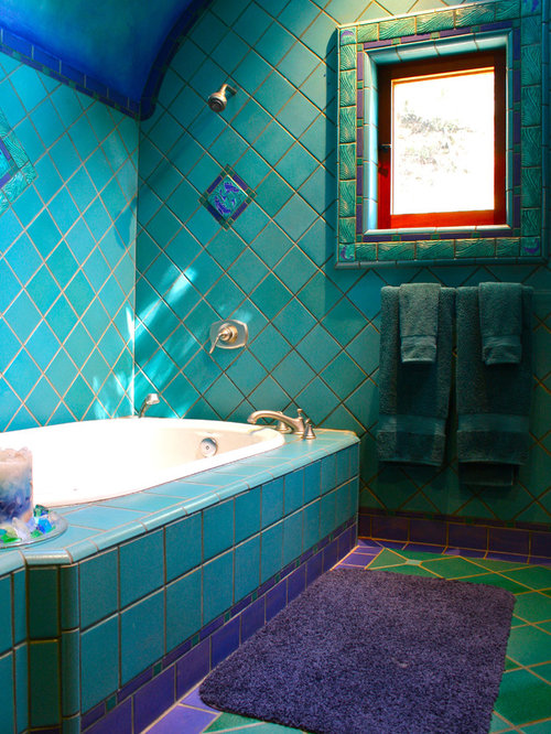 Inspiration For An Eclectic Bathroom Remodel In Santa Barbara With A  Drop In Tub,