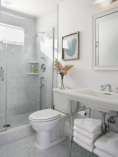 Small beach style white tile and mosaic tile mosaic tile floor alcove shower  idea in Newark. Small Bathroom Tile Design   Houzz
