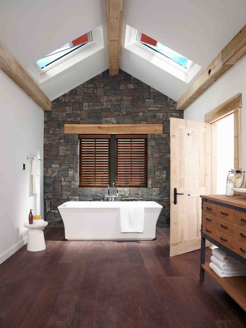 Freestanding Bathtub   Mid Sized Farmhouse Master Dark Wood Floor  Freestanding Bathtub Idea In Denver