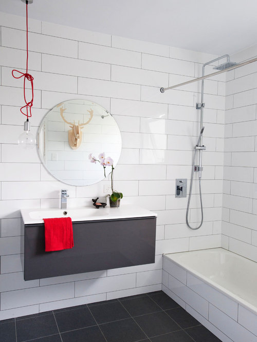 Inspiration For A Contemporary White Tile And Subway Tile Alcove Bathtub  Remodel In Brisbane With Flat Part 49