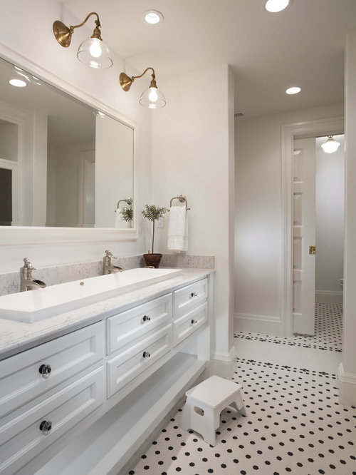 Elegant Bathroom Photo In Salt Lake City With Marble Countertops And A  Trough Sink