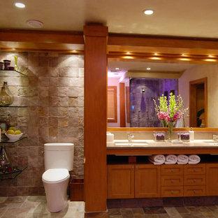 ニューヨークの大きいトランジショナルスタイルのおしゃれなマスターバスルーム (オーバーカウンターシンク、落し込みパネル扉のキャビネット、中間色木目調キャビネット、一体型トイレ、マルチカラーのタイル、石タイル、ベージュの壁、セラミックタイルの床) の写真