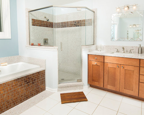 Mid sized transitional master brown tile and orange white floor  bathroom photo in Atlanta 25 Best Orange Tile Bathroom Ideas Houzz