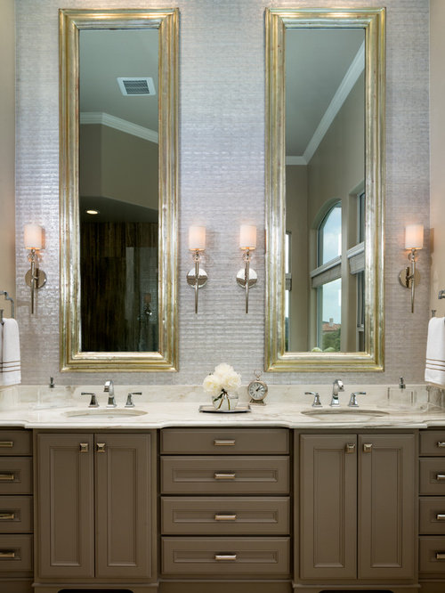 Example Of A Transitional Bathroom Design In Austin With An Undermount Sink Recessed Panel