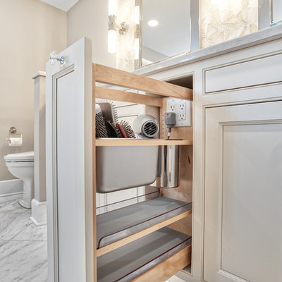 Large elegant master white tile and mosaic tile marble floor and white floor bathroom photo in New York with beaded inset cabinets, an undermount tub, an undermount sink, quartzite countertops, a hinged shower door and white countertops