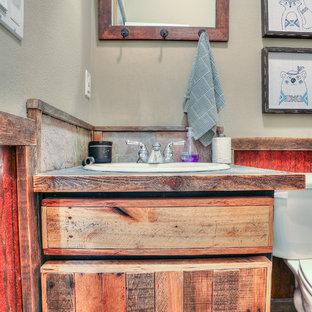 Imagen de cuarto de baño rural, pequeño, con puertas de armario con efecto envejecido, armarios con paneles lisos, sanitario de una pieza, lavabo encastrado, encimera de acero inoxidable y encimeras grises