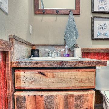 Bathroom Vanity with Corrugated Metal Wainscotting