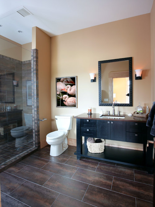 Trendy Bathroom Photo In Grand Rapids With Black Cabinets