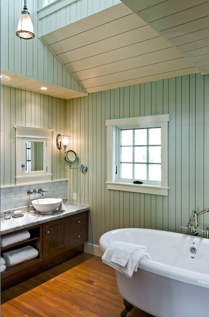 Painting Wood Paneling: Beach Style Bathroom By Whitten Architects