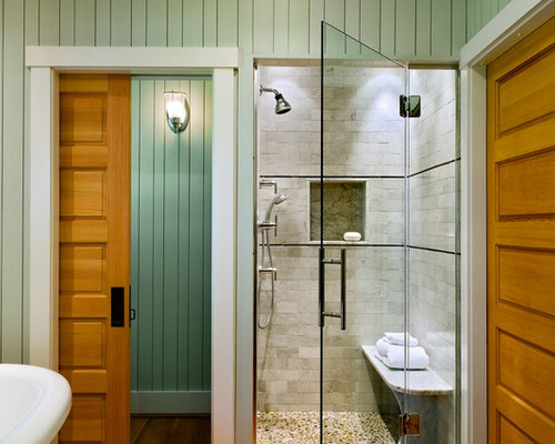 Inspiration For A Beach Style Subway Tile Pebble Tile Floor Bathroom  Remodel In Portland Maine