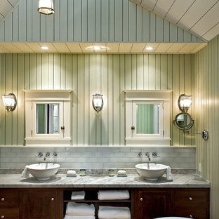 Example of a beach style bathroom design in Portland Maine with a vessel sink