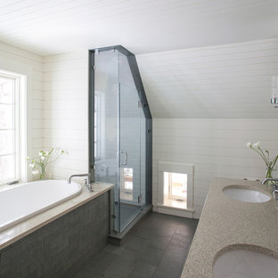 Bathroom - traditional slate floor bathroom idea in Portland Maine with granite countertops