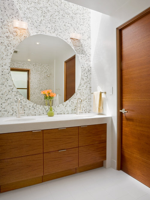 Contemporary Mosaic Tile Bathroom Idea In San Francisco With An Undermount  Sink, Flat Panel