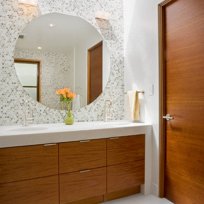 Bathroom - contemporary mosaic tile bathroom idea in San Francisco with an undermount sink, flat-panel cabinets and medium tone wood cabinets