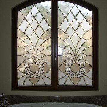 "Bathroom Windows - ""Arabesque Bevels"" Leaded Beveled Glass Designs Privacy Glass"
