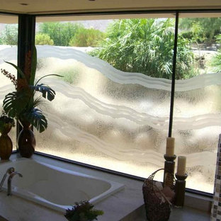 "Bathroom Windows - ""Ondas"" by Sans Soucie Art Glass"
